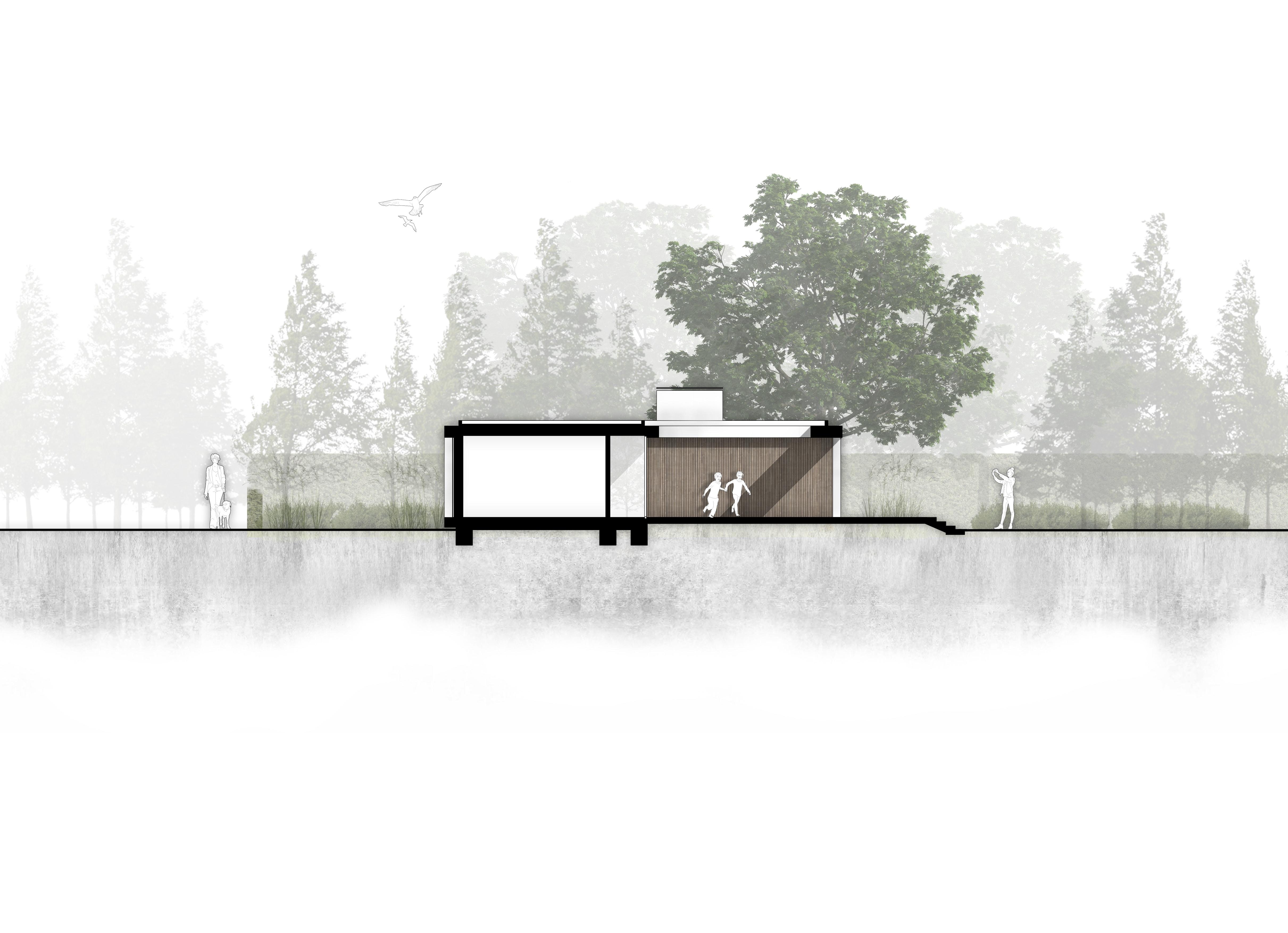 van Os Architecten nieuwbouw moderne bungalow met patio Prinsenbeek doorsnede over patio