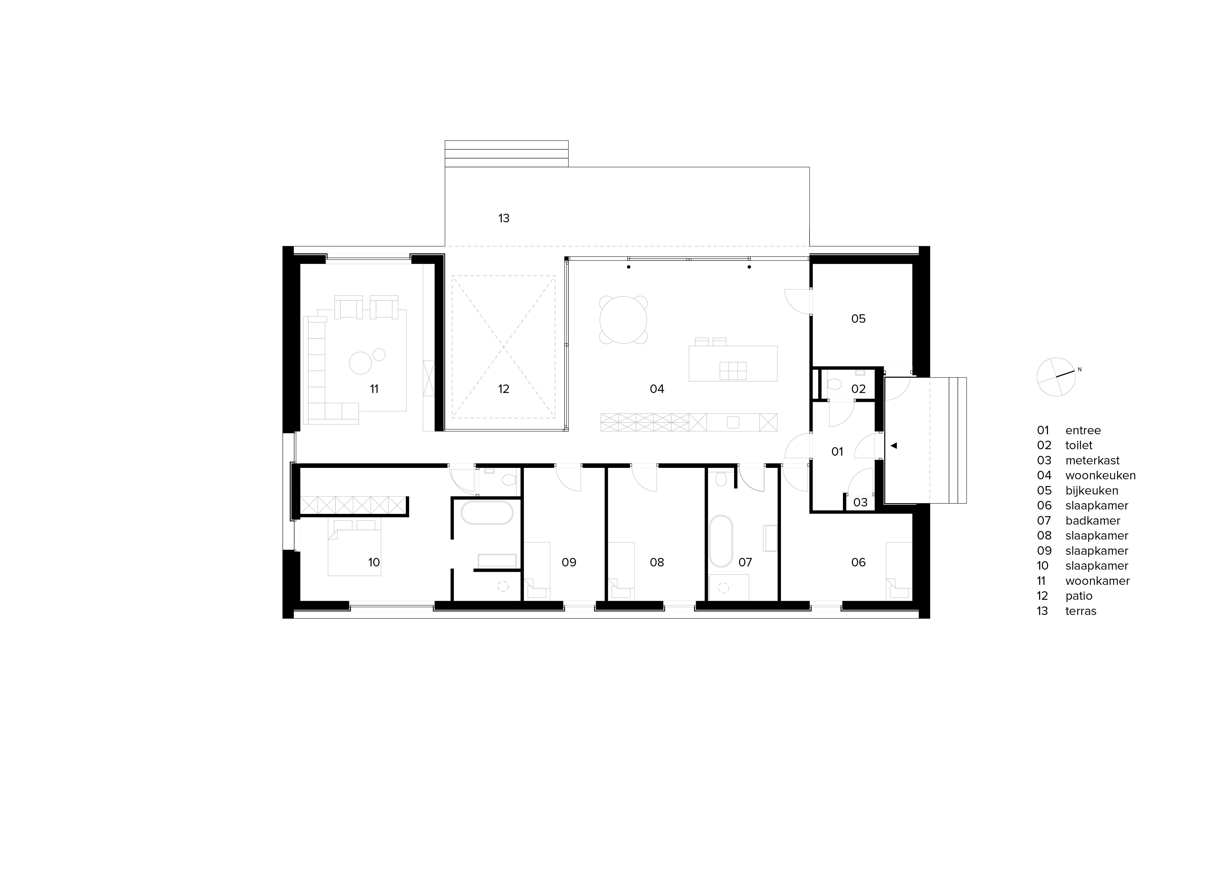 van Os Architecten nieuwbouw moderne bungalow met patio Prinsenbeek plattegrond met keuken en woonkamer rondom patio