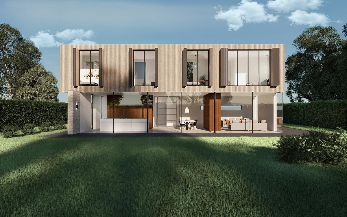 Nieuwbouw villa Westergouw Teteringen. Aanzicht van de gehele achtergevel met volledig geopende eerste verdieping. De beganegrond heeft met de keuken, eetkamer en zitkamer volledig zicht op de tuin via een grote woningbrede glazen pui.