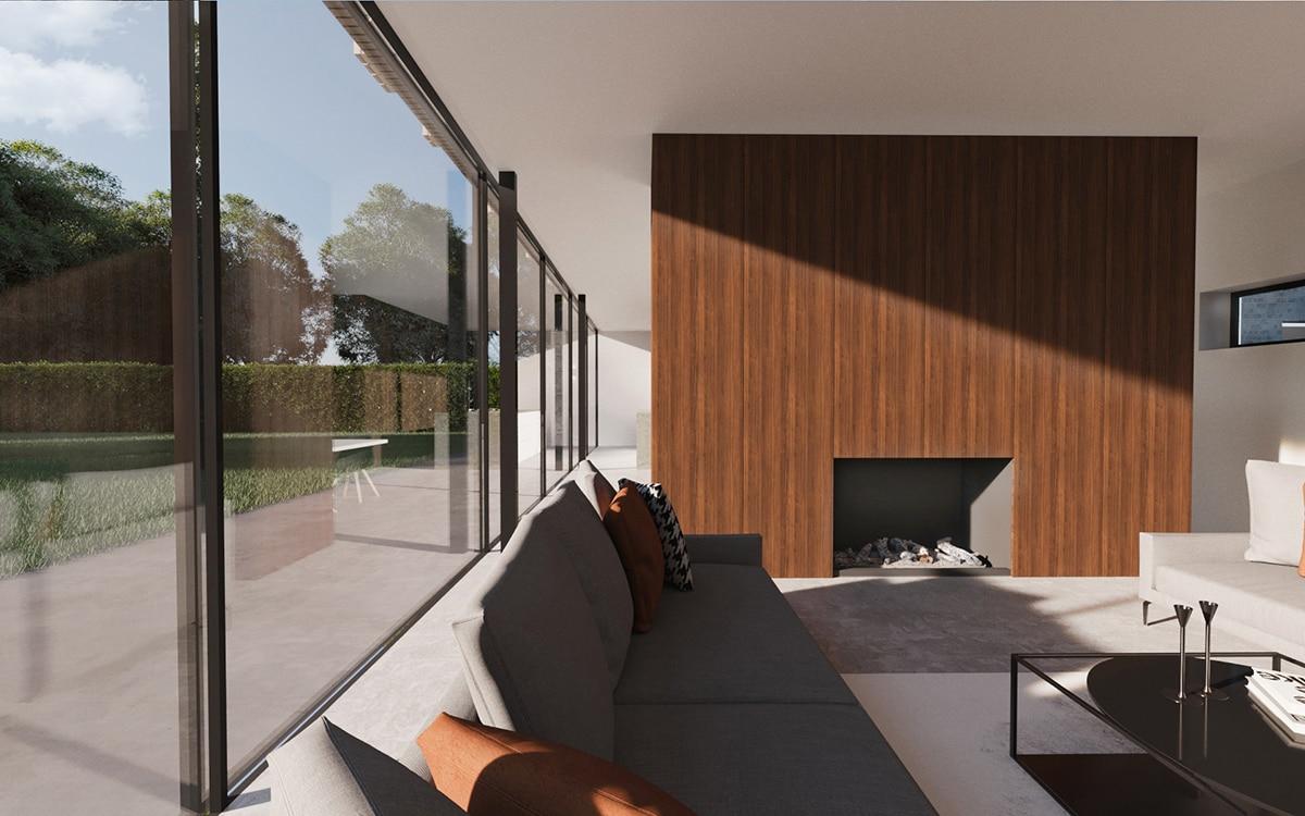 Nieuwbouw villa Westergouw Teteringen. Fragment van het interieur met een roomdivider met gashaard. De divider zorgt voor een scheiding tussen zitkamer en eetkamer/keuken.