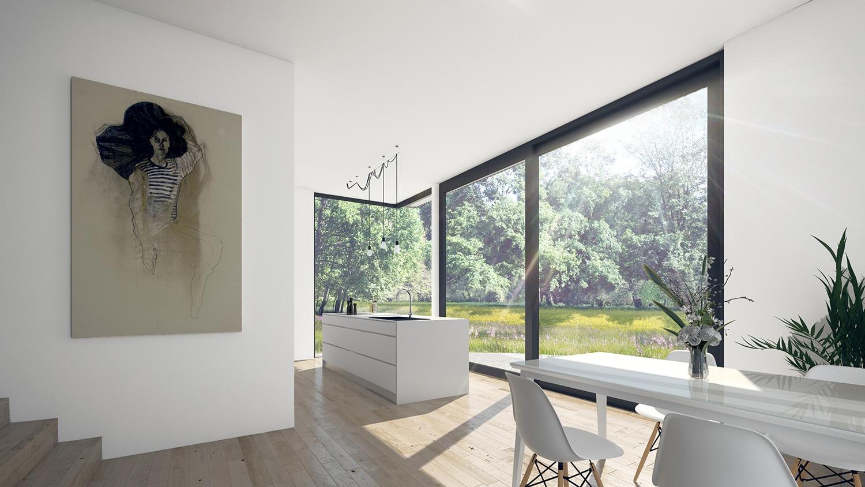 Nieuwbouw woonhuis Rottekade Zevenhuizen. De lager gelegen keuken heeft een grote schuifpui met een glazen hoekoplossing. Dit geeft maximaal uitzicht op de prachtige groene tuin achter de woning.