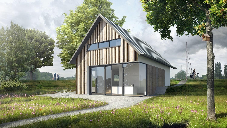 Nieuwbouw woonhuis Rottekade Zevenhuizen. De woning is ontworpen achter een dijk en heeft door het dijklichaam een hoogteverschil in de plattegrond. Via een trapje loop je vanuit de woonkamer richting de lager gelegen keuken.