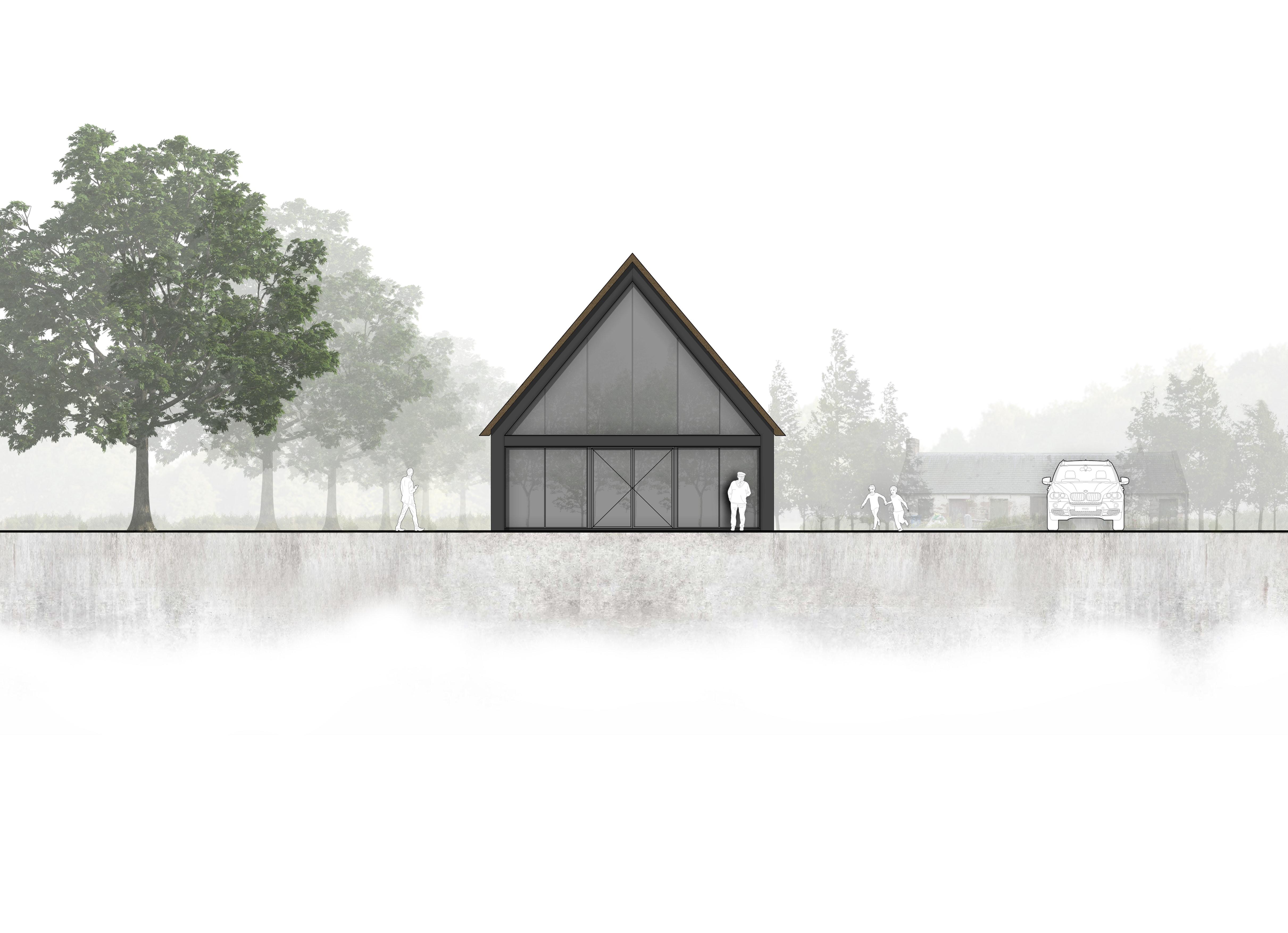 van Os Architecten, ontwerp moderne industriele woonboerderij Sevenum, achtergevel volledig in glas in kader van staal
