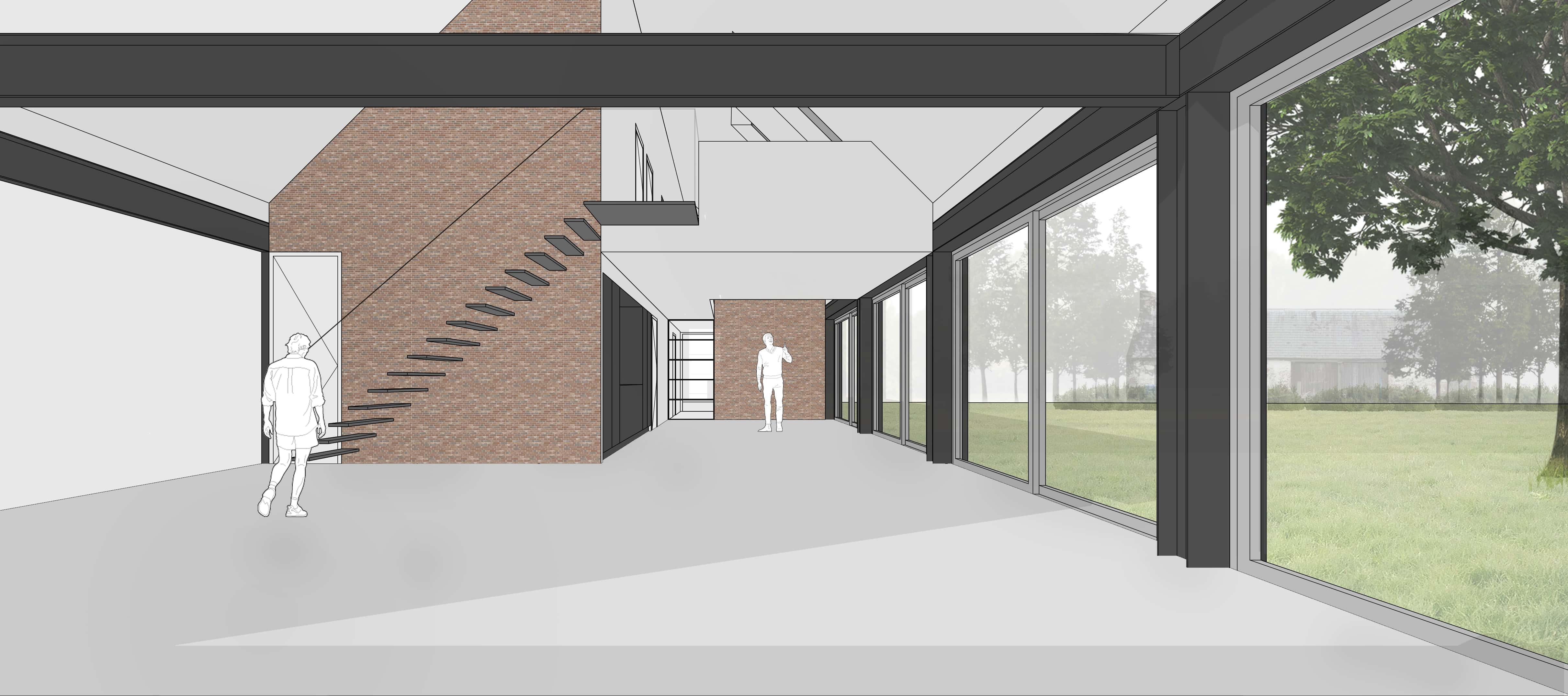 van Os Architecten, ontwerp moderne industriele woonboerderij Sevenum, perspectief interieur met 2 vides, zichtwerk metselwerk muren en glazen puien in stalen kader