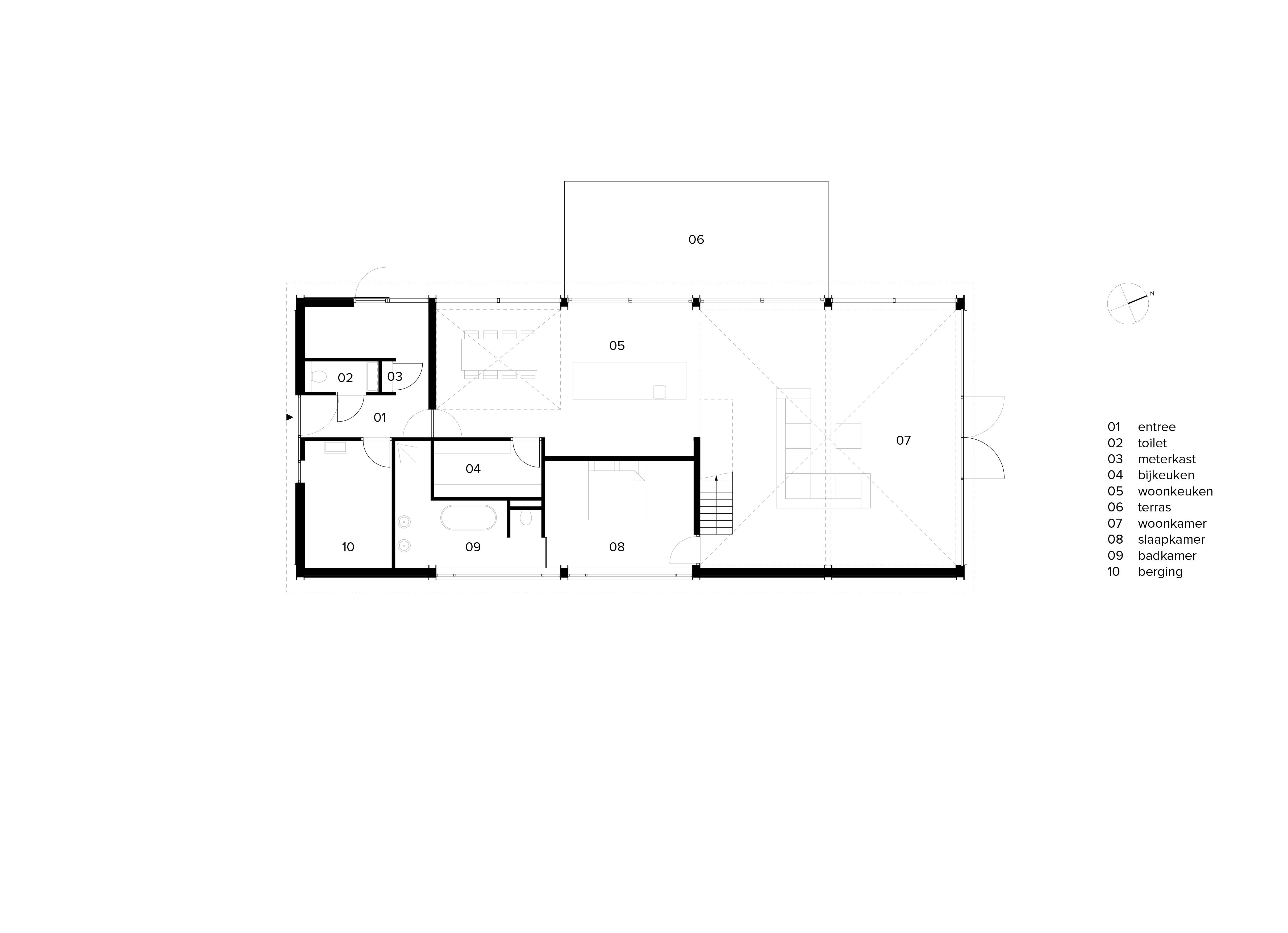 van Os Architecten, ontwerp moderne industriele woonboerderij Sevenum, plattegrond met 2 vides gescheiden door een ruimte woonkeuken