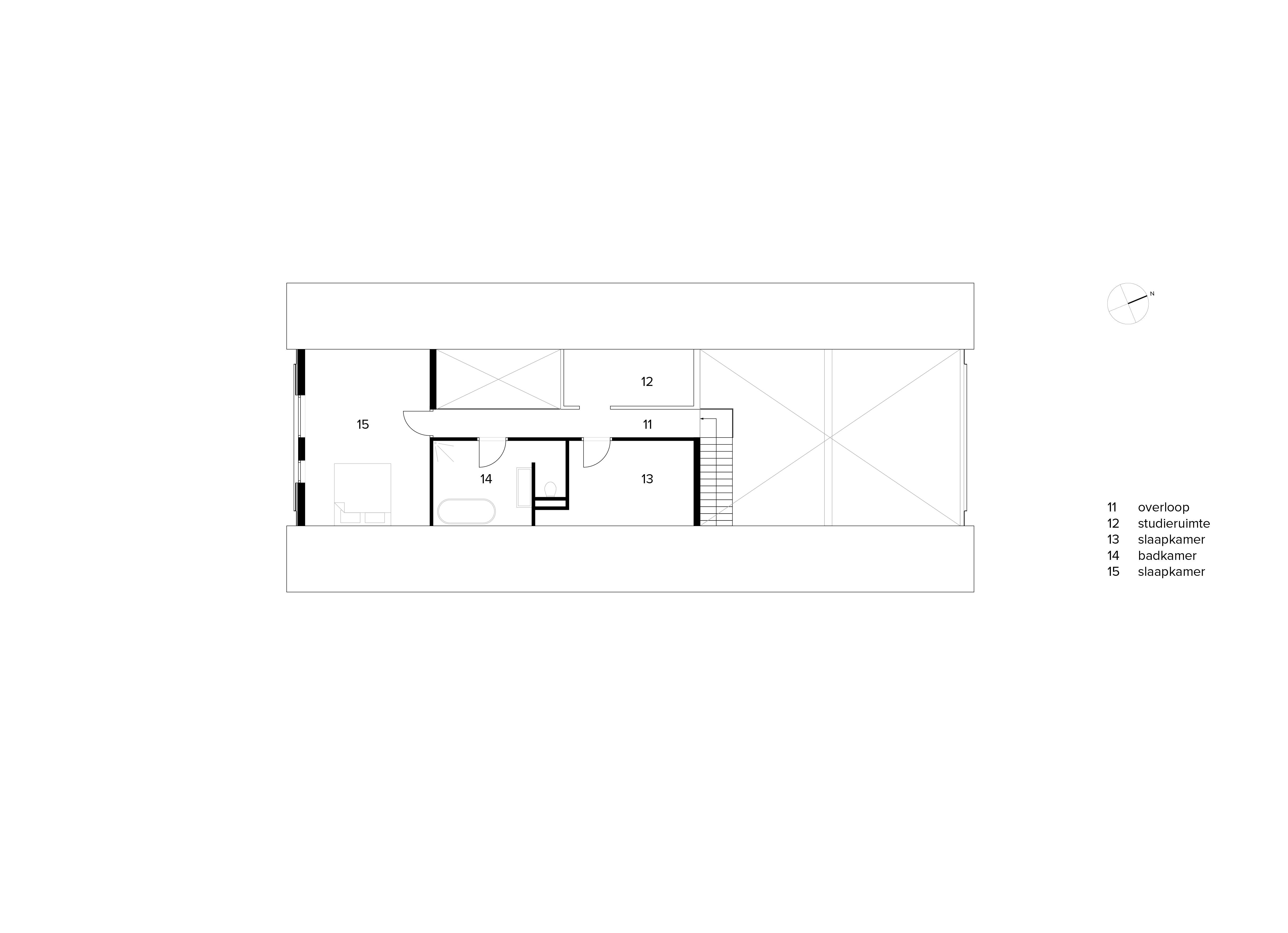 van Os Architecten, ontwerp moderne industriele woonboerderij Sevenum, plattegrond verdieping met 2 vides, studie en slaapkamers