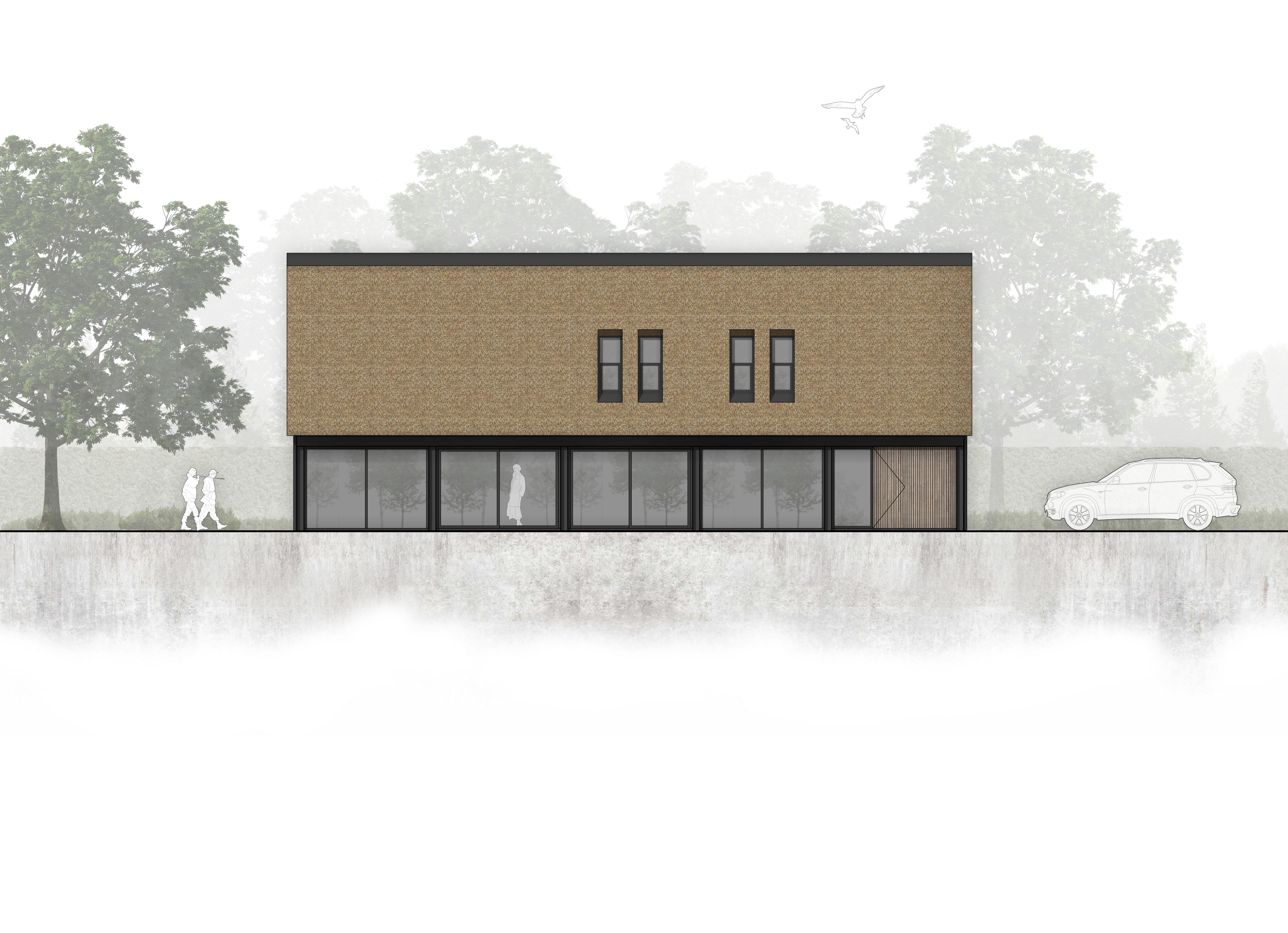van Os Architecten, ontwerp moderne industriele woonboerderij Sevenum, zijgevel met aluminium schuifpuien in kader van zichtwerk stalen frame en rieten kap