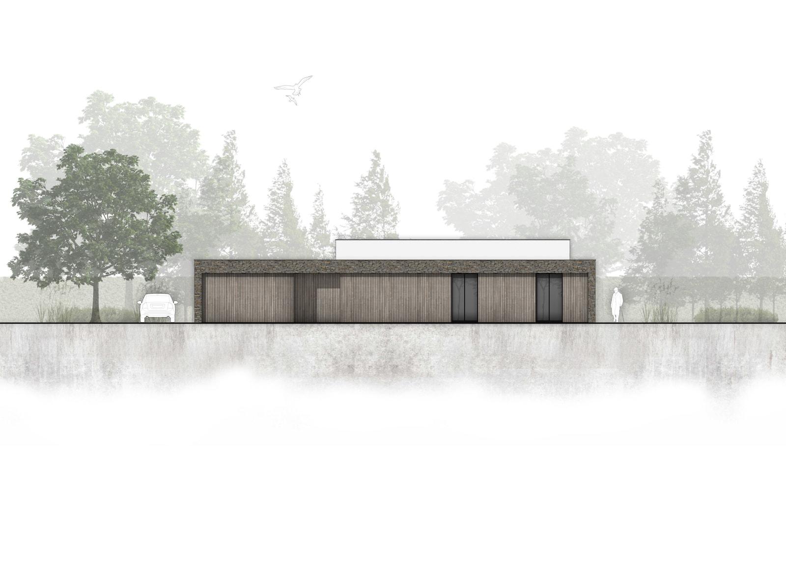 Nieuwbouw moderne bungalow in zichtwerk natuurgevelsteen en gevelstukwerk in Breda