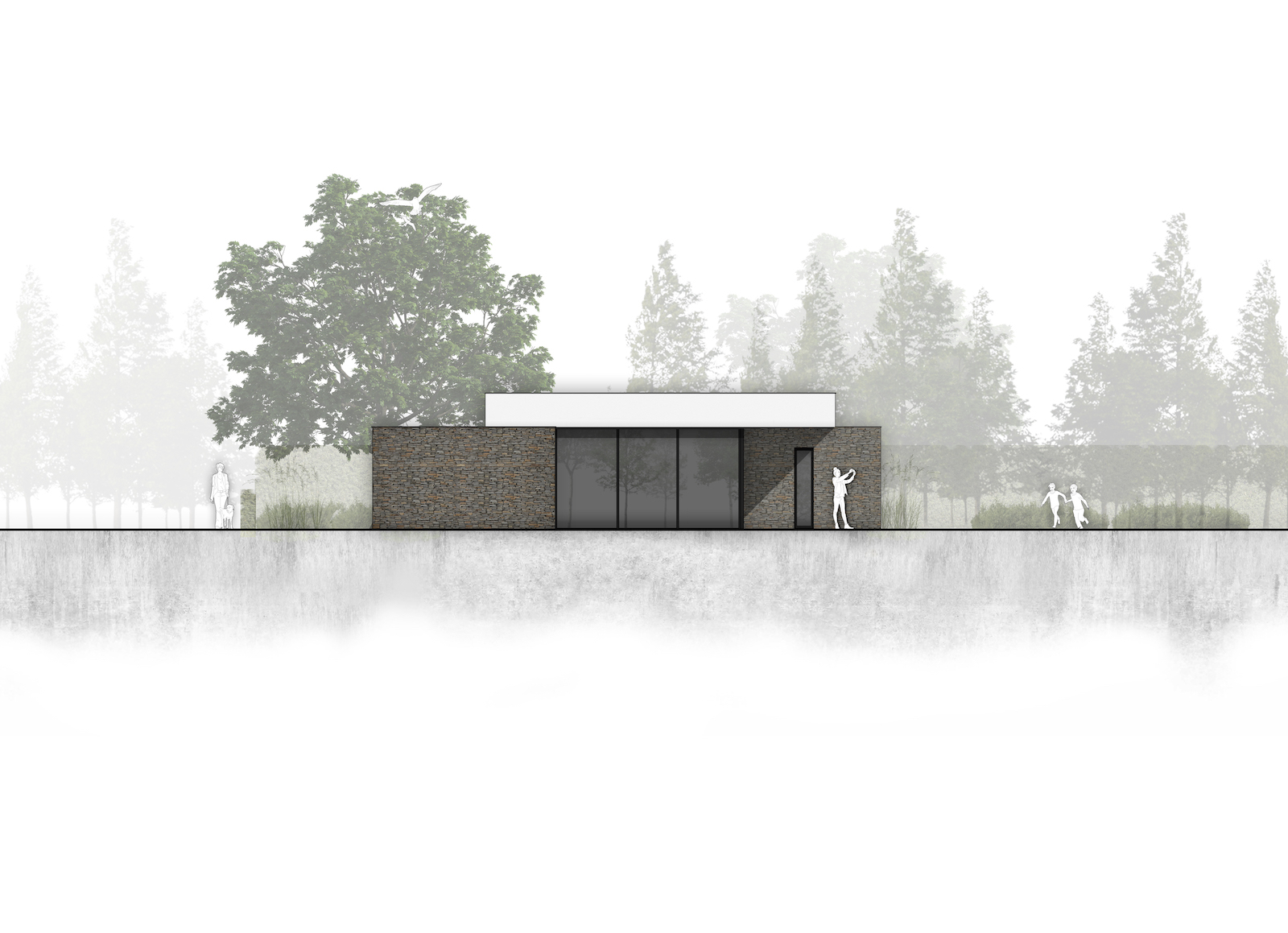 van-os-architecten-breda-nieuwbouw-moderne-bungalow-in-zichtwerk-natuurgevelsteen-en-gevelstucwerk-in-breda-rechterzijgevel