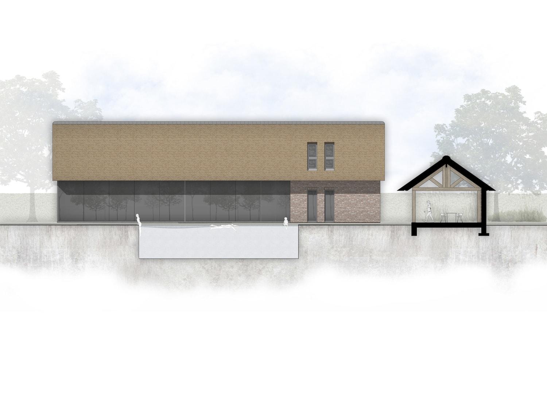 van-os-architecten-breda-nieuwbouw-schuurwoning-lieshout-met-zichtwerk-eikenhout-spanten-en-beton-volume-glazen-gevel-richting-tuin-en-zwembad