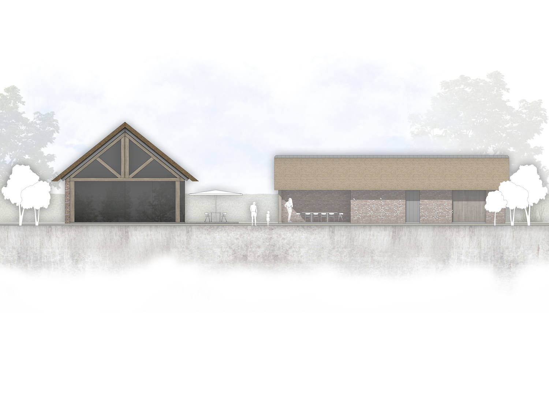 van-os-architecten-breda-nieuwbouw-schuurwoning-lieshout-met-zichtwerk-eikenhout-spanten-en-beton-volume-kopgevel-met-glazen-pui