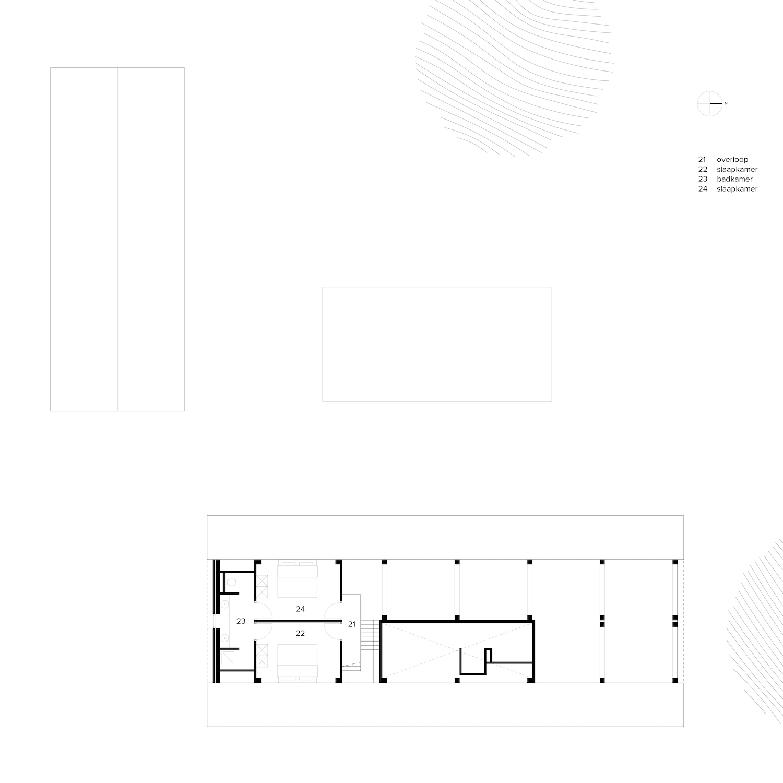 van-os-architecten-breda-nieuwbouw-schuurwoning-lieshout-met-zichtwerk-eikenhout-spanten-en-beton-volume-plattegrond-eerste-verdieping-met-slaapkamers-en-badkamers