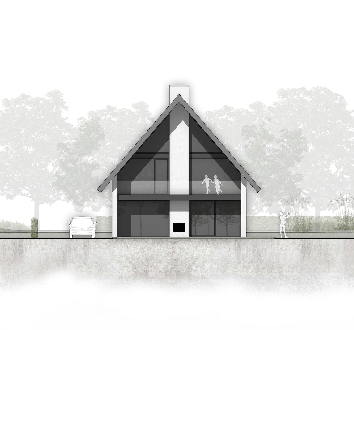 van-os-architecten-breda-nieuwbouw-woning-in-gevelstucwerk-en-stalen-dak-hoge-gouw-teteringen-achtergevel-met-balkon-en-versanda-bij-woonkeuken-en-grote-aluminium-puien