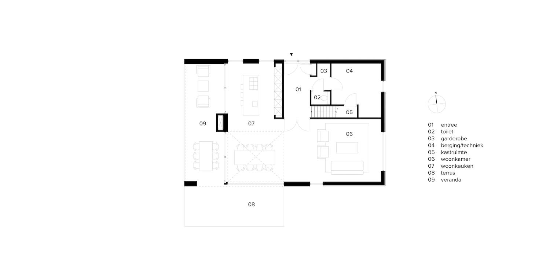 van-os-architecten-breda-nieuwbouw-woning-in-gevelstucwerk-en-stalen-dak-hoge-gouw-teteringen-plattegrond-beganegrond-met-woonkeuken-woonkamer-en-ruime-vide