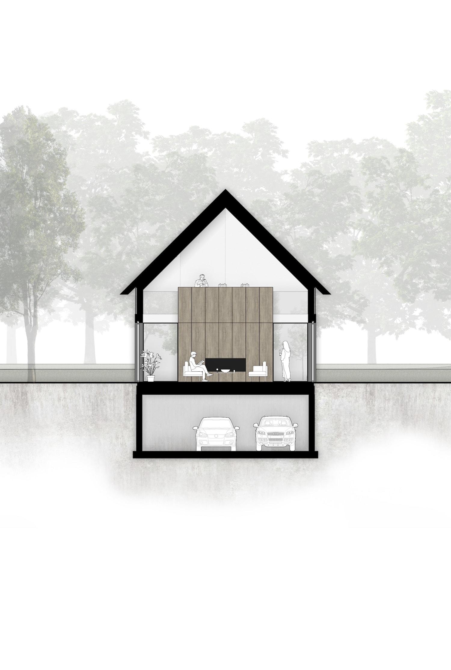 van-os-architecten-breda-ontwerp-moderne-schuurwoning-oosteind-in-rieten-dakbedekking-en-padoek-gevelbekleding-met-aluminium-puien-doorsnede-woonkamer-met-zicht-op-studie-bij-meubel