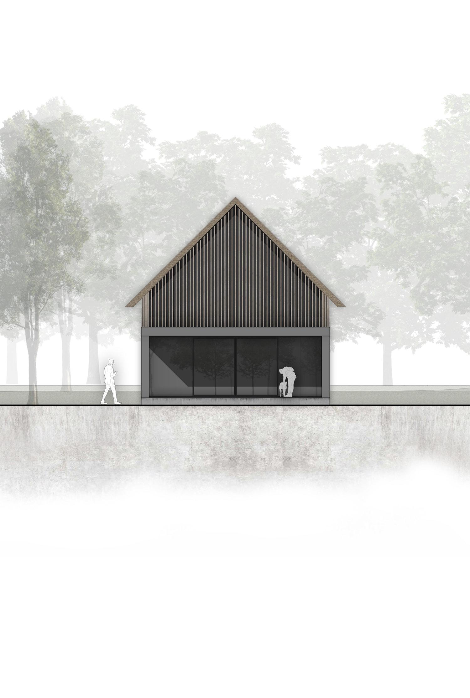 van-os-architecten-breda-ontwerp-moderne-schuurwoning-oosteind-in-rieten-dakbedekking-en-padoek-gevelbekleding-met-aluminium-puien-kopgevel-in-houten-lamellen