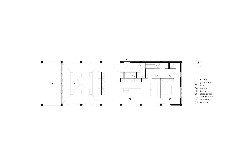 van-os-architecten-breda-ontwerp-moderne-schuurwoning-oosteind-in-rieten-dakbedekking-en-padoek-gevelbekleding-met-aluminium-puien-plattegrond-beganegrond-met-grote-vide-in-woonkamer-en-veranda