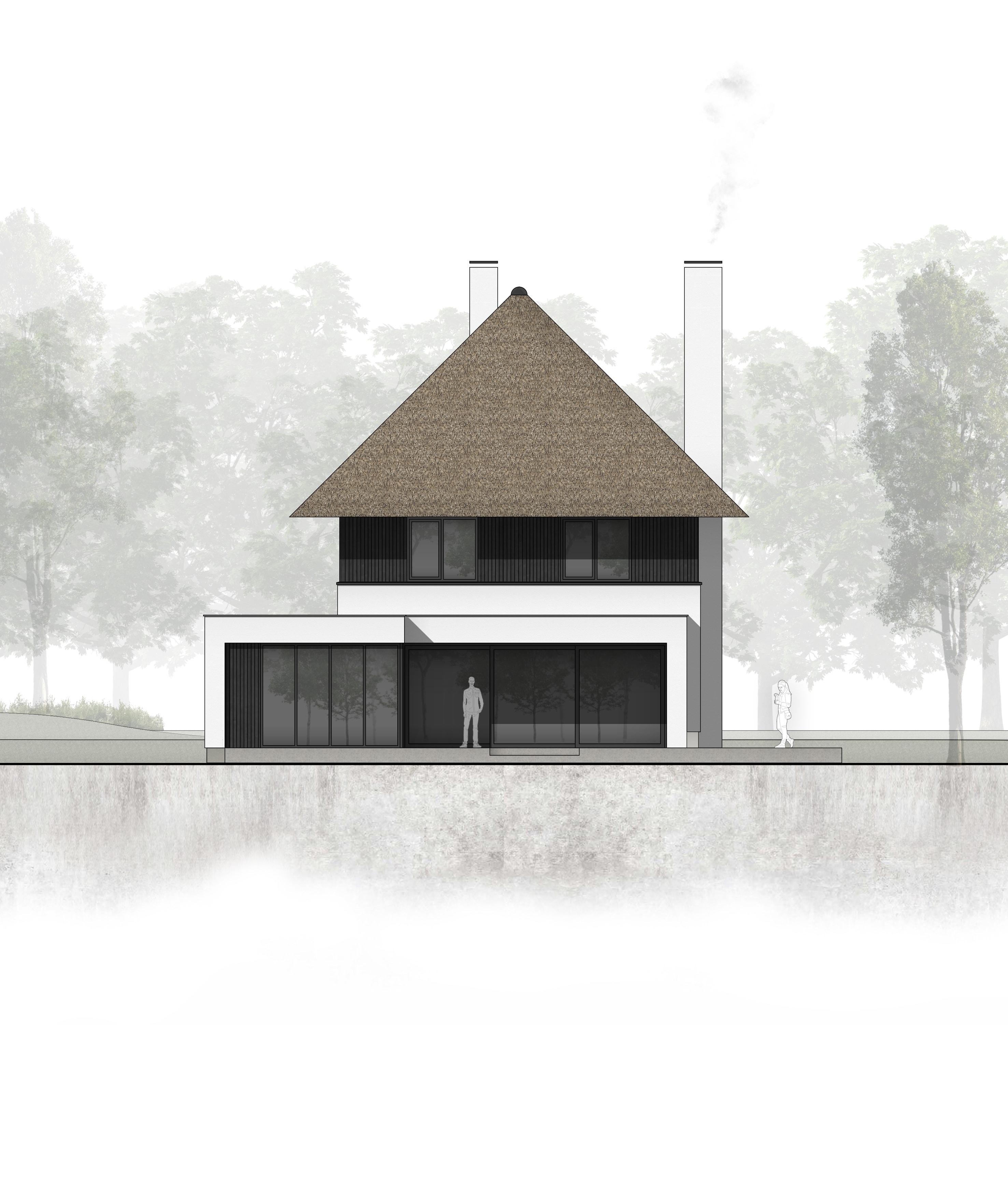 van-os-architecten-nieuwbouw-landelijke-rietgedekte-vrijstaande-villa-tegenbosch-eindhoven-achtergevel-met-overdekte-veranda-bij-ruime-woonkeuken