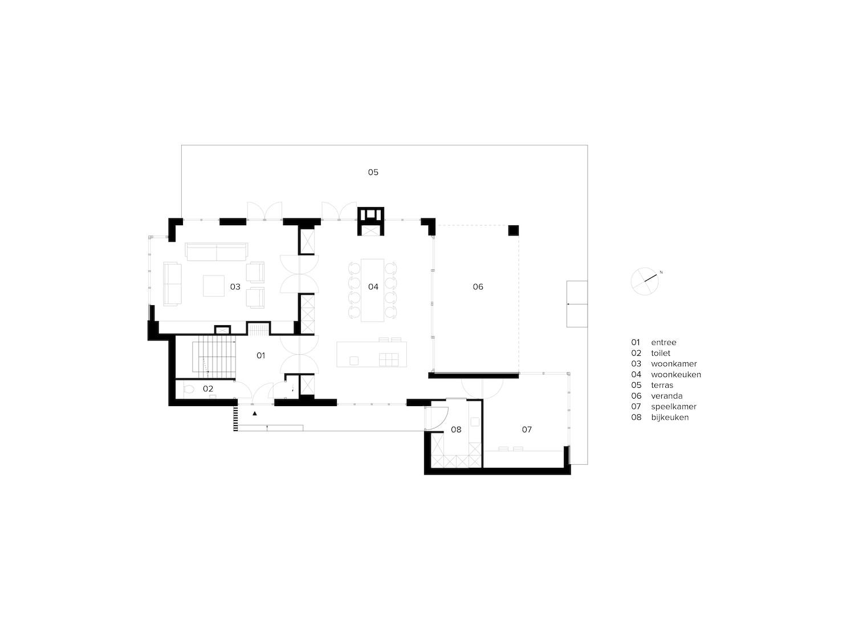 van-os-architecten-nieuwbouw-landelijke-rietgedekte-vrijstaande-villa-tegenbosch-eindhoven-plattegrond-beganegrond-met-ruime-entree-woonkamer-en-woonkeuken