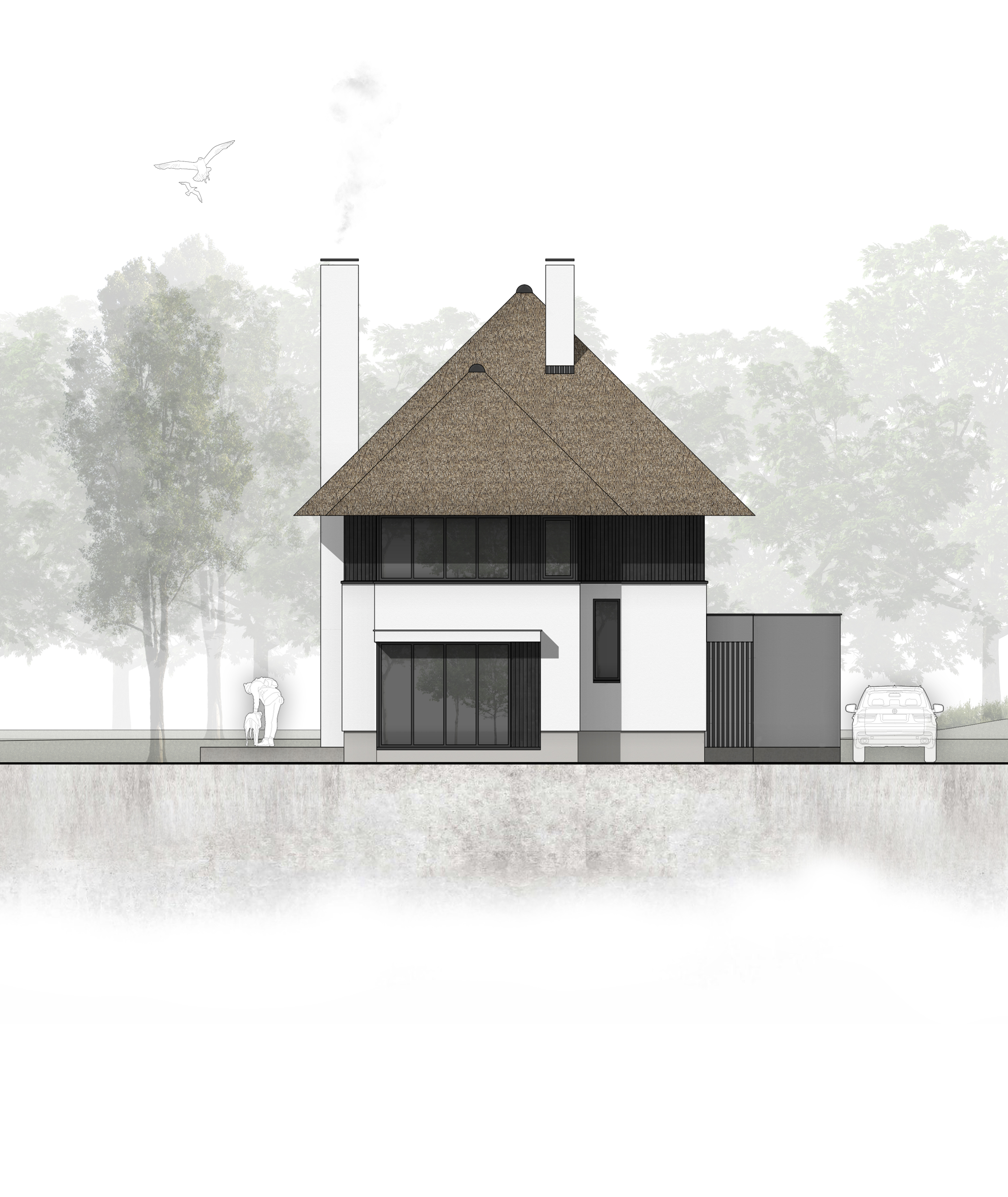 van-os-architecten-nieuwbouw-landelijke-rietgedekte-vrijstaande-villa-tegenbosch-eindhoven-voorgevel-in-wit-gevelstucwerk-en-aluminium-puien